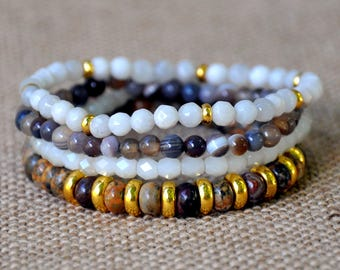 Natural, White & Gold Beaded Bracelet Set
