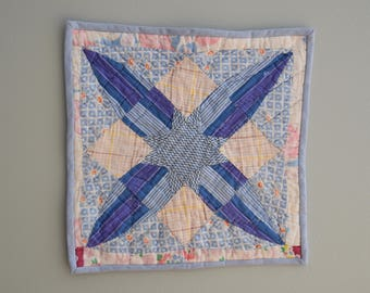 Blue Star Wall Hanging or Fragile Doll Quilt
