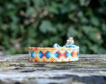 Colorful friendship bracelet, wishbracelet, cotton bracelet, square friendship bracelet pattern, orange blue bracelet (ready to ship)