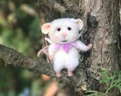 RESERVED FOR GLORIA- Peek A Boo Needle Felted Wool Mouse Tucked In A Miniature Tea Cup & Saucer - Snoozie Pod Mouse