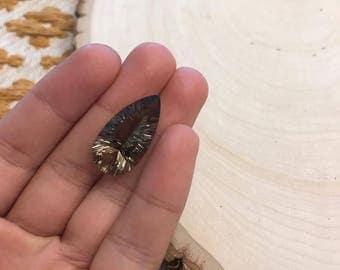 Natural Smokey Pear faceted gemstone