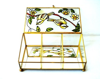 Boho vintage 70s,stained glass, brass, mirrow, footed, jewerly, rectangular box with a a birds and flowers on the top.