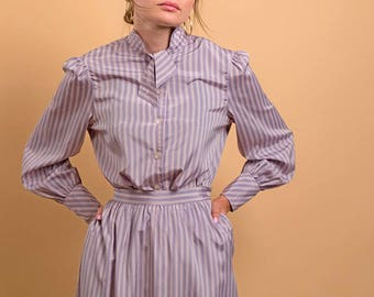 70s Striped Two-Piece Set / Vintage 80s Ascot Blouse / High-Waisted Full Skirt / PJ Matching Skirt Set Δ size: M