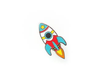 Bright Retro Rocket Enamel Pin - Hard Enamel Pin Cloisonné Spaceship Lapel Pin Rocket Pin Badge Kawaii Rocket Ship Pin Sci-Fi Pin
