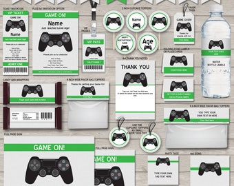 Video Game Invitations & Decorations - full Printable Package - Gamer Theme Birthday Party - INSTANT DOWNLOAD with EDITABLE text - you edit