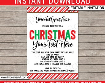 Christmas Party Invitations - Printable Christmas Invites - Any Occasion - INSTANT DOWNLOAD with EDITABLE text - you personalize at home