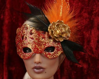 "16"" Doll Mask Gold Rose"