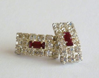 Crystal Pierced Earrings, Red Rhinestone Baguette Earrings, Vintage Crystal Jewelry