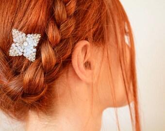 White Swarovski crystal flower bridal hair pin