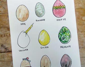 Types of Egg: Funny Art Print - Egg Illustration - Unicorn Wall Art - Dragon Egg Art - Humorous Easter Art - Hand Drawn Illustration