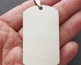 Plished stainless steel  plain dog tag pendant