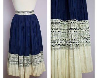 Vintage 1950's Blue Patio Skirt M