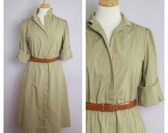 Vintage 1970's Khaki Cuff Sleeve Safari Shirt Dress M/L