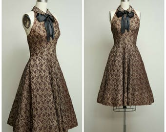 Vintage 1950s Dress • Into Your Soul • Quilted Lace Halter 50s Party Dress by Johnny Herbert Size Small