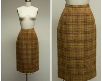 Vintage 50s Skirt • Verge D'or • Wool Plaid 50s Pencil Skirt Size Small