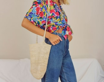 Bright Coloured Printed 80s Silk Blouse