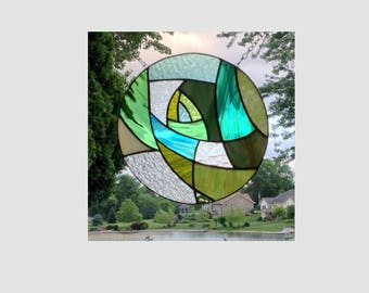 Stained glass window panel green abstract round stained glass panel window hanging geometric suncatcher 0254