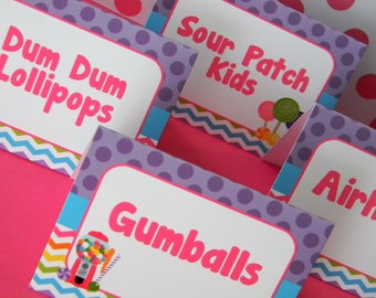 Candy Party Food Labels, Candy Food Cards, Candy Shop Party Food Labels, Candy Party Decor, Candy Birthday Party, Candy Shoppe, Set of 8