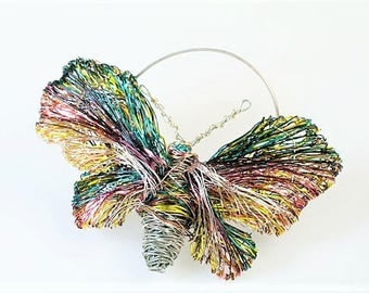 Butterfly brooch, burgundy brooch, green yellow, wire art sculptural jewelry, modern hippie, Christmas gift women, bridesmaid gift, coat pin