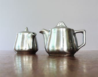 Pair / Two Mid Century Hall Silver Luster / Glo Personal / Single Serving Teapots