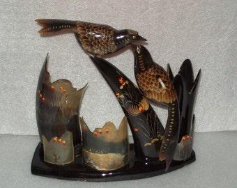 Hand Carved Bird Scene