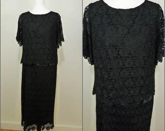 VINTAGE Original 1940s Black Crochet Flower Lace Cocktail Flapper Dress UK 12 F40 WW2 / Scalloped edge / Long flapper style over top
