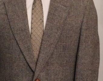 On Sale Vintage MENS Spiess grey herringbone tweed jacket, sport coat or blazer, made in U.S.A.
