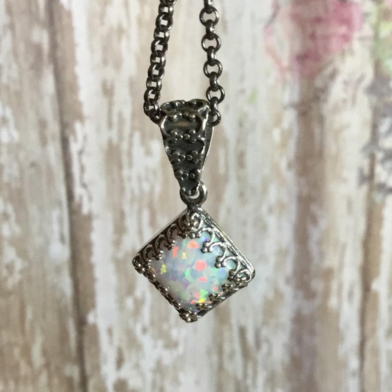 Opal Necklace, October Birthstone, Sterling Silver, 925 Silver, Gemstone Jewelry, Gifts Under 25 Dollars