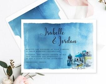 Semi-Custom Wedding Stationery - Save the Date, Wedding, Engagement Party, Bridal Shower - Destination Greece (Style 13675)