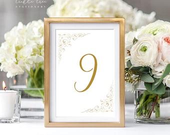 Reception Table Numbers - Vintage Ornamental Design