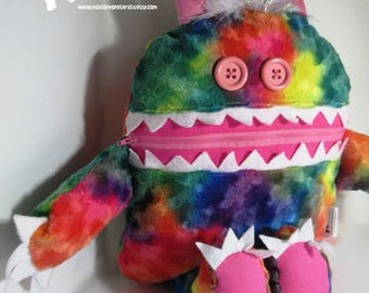 Cuddle Monster Pillow, Rainbow Sparkle monster, Rainbow bedtime buddy, zipper mouth pajama eater, Rainbow Pink pillow, nightmare eater