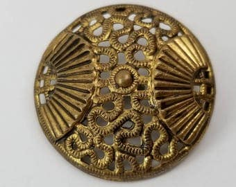 Ornate Antique Brass Coat Button ~ Two Fans with Pierced Openwork Vermiform Divide ~ 1-1/16 inch 27mm ~ Perforate Gold Metal Sewing Button