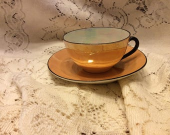 Lustre Cup and Saucer luster Czecohslovakia Tea Cup and Saucer Mother of Pearl