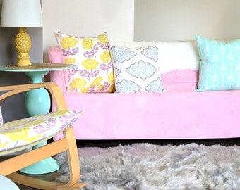 Pink Velvet Suede IKEA KNOPPARP Slip Cover