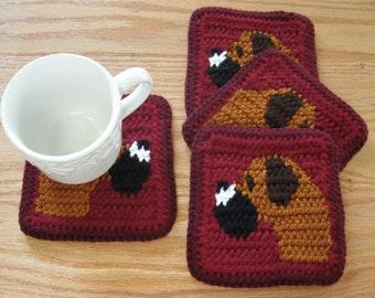 Boxer Dog Coasters. Burgundy, crochet coaster set with Boxers. Set of 4 dog decor cup coasters