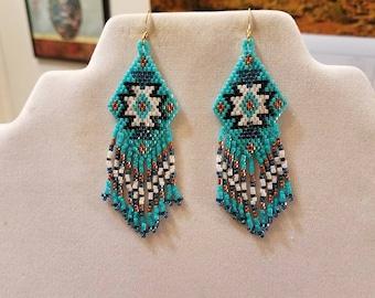 Native American Style Beaded Rug Earrings Black, Turquoise, White, Copper Boho, Southwestern, Fringe, Geometric, Brick Stitch