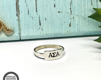 Alpha Sigma Alpha Ring - Personalized ASA Sterling Silver Ring - ASA Sterling Silver Ring - The Charmed Wife - Sorority Girl Gifts - Rings
