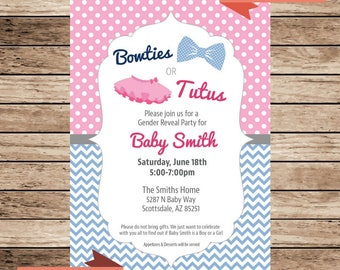 Bowties or Tutus Gender Reveal Party Invitation, Gender Reveal Party, Baby Reveal, Gender Reveal, Boy or Girl