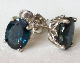 Large Blue Green Sapphire Earrings 18k White Gold