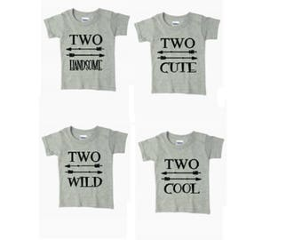 Two Handsome Shirt/ Two Cute Shirt/ Two Cool Shirt/ Two Wild Shirt/ Two Years Boy Birthday Shirt/ 2nd Birthday Shirt/ Boys Birthday Tshirt