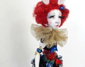 Ooak Art Doll Suzette ,magician's rabbit in the hat- art doll Handmade doll