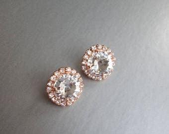 Rose gold crystal earrings, Swarovski crystal bridal stud earrings, Swarovski studs, Bridal rhinestone earrings, Gold wedding earrings