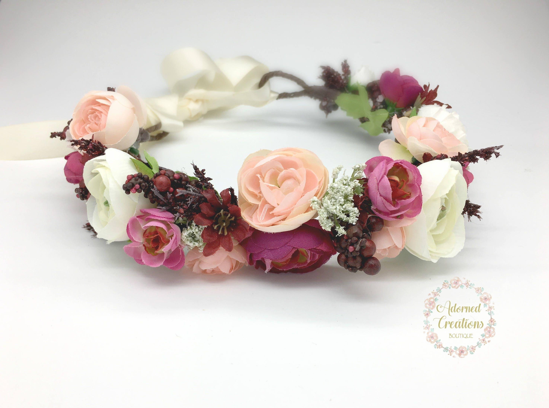 Burgundy And Blush Pink Flower Crown Wedding Flower Crown