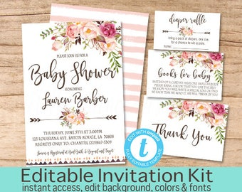 Baby Shower Invitation Kit, Boho Floral Invitation Set, Editable Baby Shower invitation Suite, Boho Floral Invite, Templett Instant Download