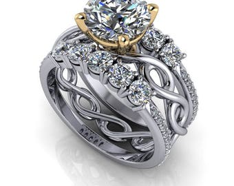 Twist Infinity Engagement Ring - Wedding Bands - Moissanite Ring - Insieme™ Bridal Stackables