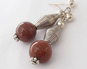 Goldstone Post Earrings - Aventurine Glass Dangles - for Pierced Ears