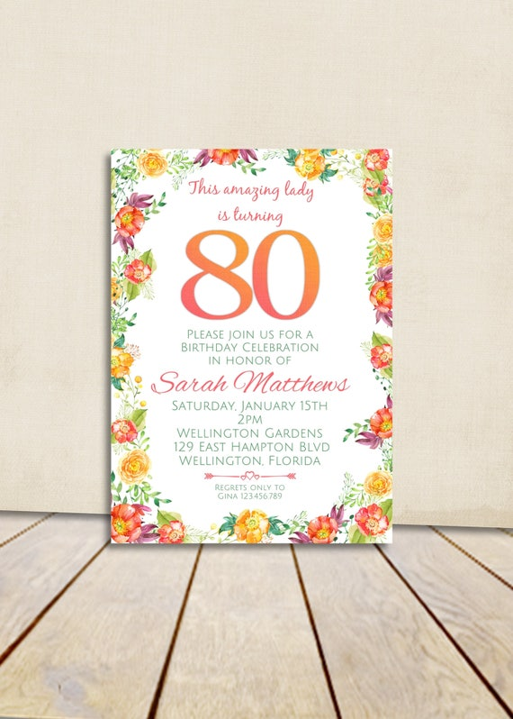 80th Birthday Invitation , Spring Floral Invite, Any Age Adult Birthday Invitation, Surprise Birthday Party Printable Invite