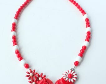 Red Necklace, Statement Necklace, Collage Necklace, Recycled Necklace, Recycled Jewelry,Upcycled Jewelry,Patriotic Necklace,Nautical Jewelry