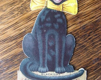 Black Cat Hosiery Cardboard Die Cut Standing Advertising Card Early 1900s