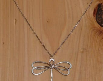 Primitive hammered stainless steel dragonfly necklace